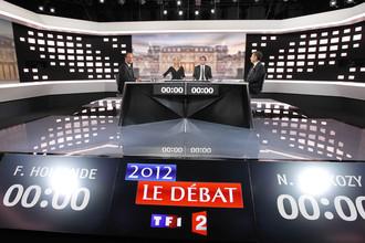 Никола Саркози и Франсуа Олланд в ничью провели телевизионные дебаты