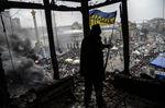 Вид наплощадь Независимости вКиеве изсгоревшего Дома профсоюзов