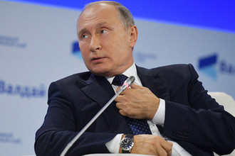 Президент России Владимир Путин на пленарной сессии XV ежегодного заседания Международного дискуссионного клуба «Валдай» в Сочи, 18 октября 2018 года