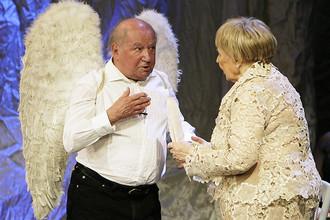 Актеры Лев Дуров и Ольга Аросева на юбилейном вечере в Театре сатиры, 2010 год