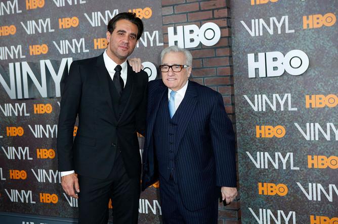 Режиссер Мартин Скорсезе и актер Бобби Каннавале на премьере музыкальной драмы «Винил» в Нью-Йорке