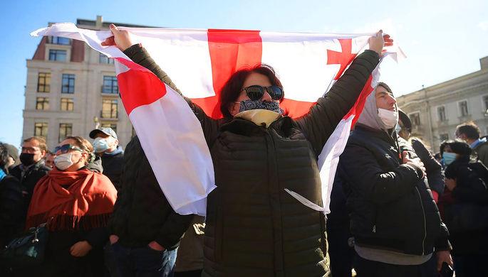Акция протеста в Тбилиси после ареста лидера «Единого нацдвижения» Ники Мелия, 23 февраля 2020 года