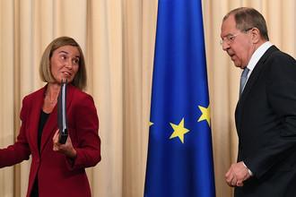 Представитель ЕС по иностранным делам и политике безопасности Федерика Могерини и министр иностранных дел Сергей Лавров после встречи в Москве, 24 апреля 2017 года