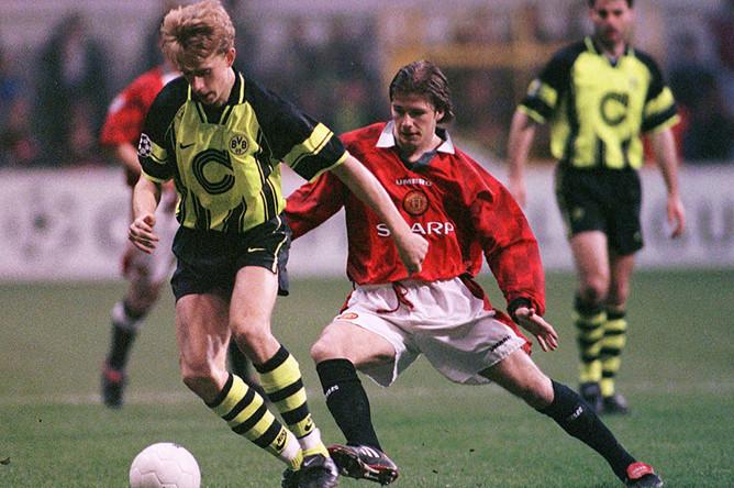 Дэвид Бекхэм во время Лиги чемпионов в 1997 году