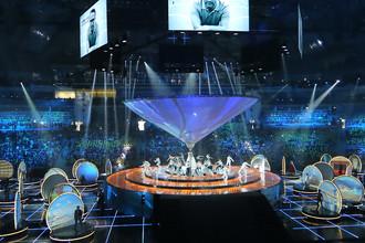 Участники XIX Всемирного фестиваля молодежи и студентов на церемонии открытия ВФМС в Ледовом дворце «Большой» в Сочи