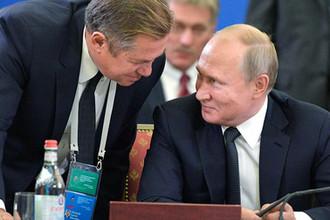 Президент России Владимир Путин и советник президента РФ Сергей Глазьев, 1 октября 2019 года