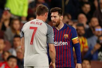 Лионель Месси в матче Лиги чемпионов «Барселона» — «Ливерпуль»