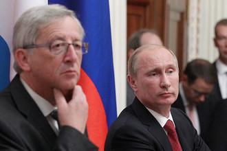 25 сентября 2012 года. Премьер-министр Люксембурга Жан-Клод Юнкер и президент РФ Владимир Путин во время совместной пресс-конференции в Кремле