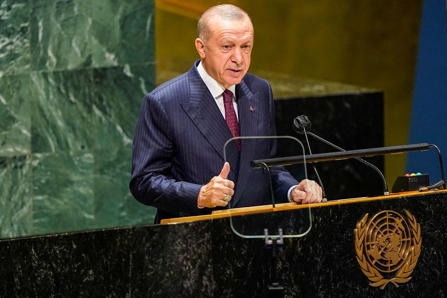 Президент Турции Реджеп Тайип Эрдоган во время выступления на76-й сессии Генеральной Ассамблеи ООН вНью-Йорке, 21сентября 2021года