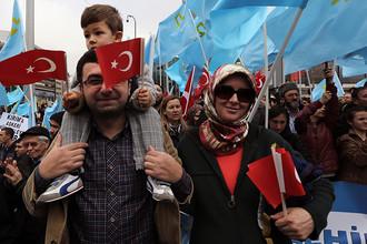 Акция протеста против действий России в Крыму. Анкара, 2 марта 2014 года