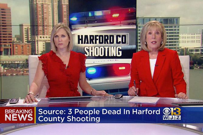 Кадр из прямого эфира о ситуации на месте стрельбы в Абердине, штат Мэриленд, 20 сентября 2018 года