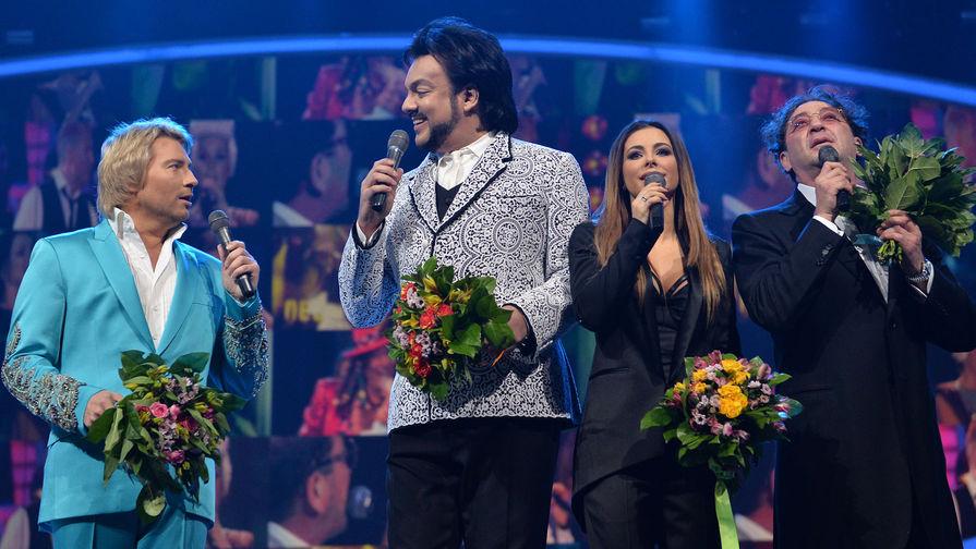 Певцы Николай Басков, Филлип Киркоров, Ани Лорак и Григорий Лепс (слева направо)