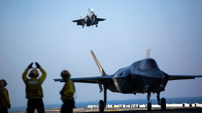 Приземление F-35B Lightning II Joint Strike Fighter на палубу USS Wasp (LHD-1), 2015 год