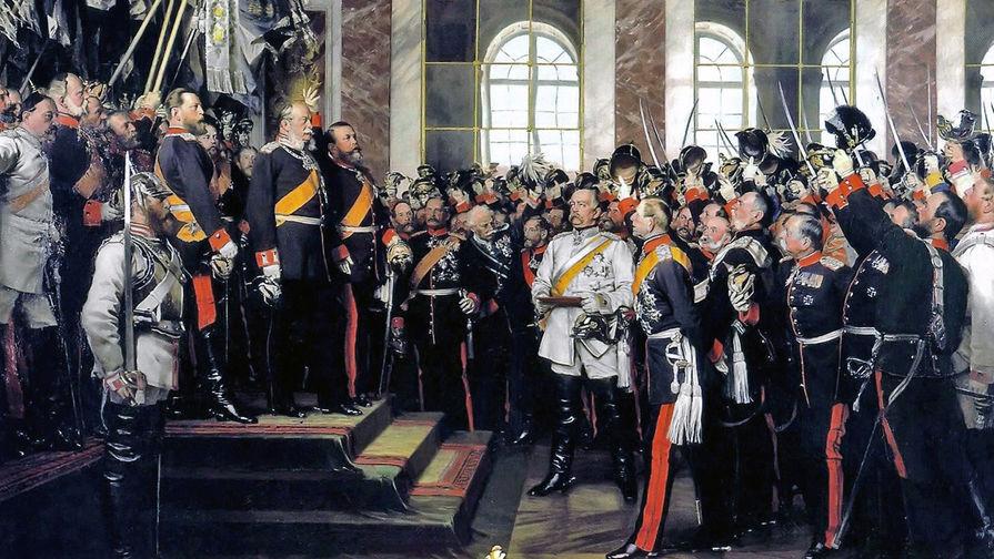 Антон Александр фон Вернер. Провозглашение Германской империи в 1871 году. Бисмарк в белом (в центре картины)
