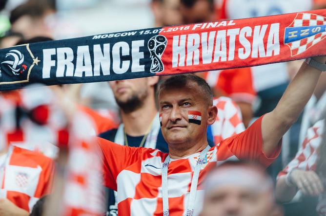 Болельщики во время финального матча чемпионата мира по футболу между сборными Франции и Хорватии, 15 июля 2018 года
