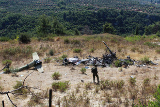 Место крушения российского вертолета на территории Сирии в 2015 году