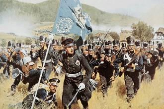 Принц прусский Фридрих Вильгельм Генрих Август Гогенцоллерн со знаменем в руках возглавляет штыковую атаку силезского батальона 11-го пехотного полка в сражении под Кульмом 30 августа 1813 года