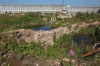 Место проведения археологических раскопок крепости Ниеншанц на Охтинском мысу в Санкт-Петербурге