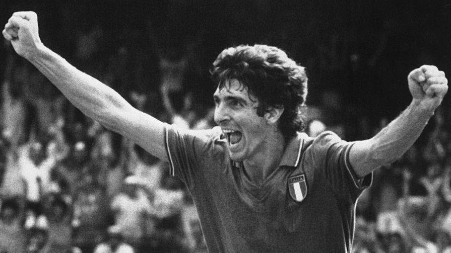 Паоло Росси во время полуфинального матча Чемпионата мира по футболу между сборными Италии и Польши, 1982 год