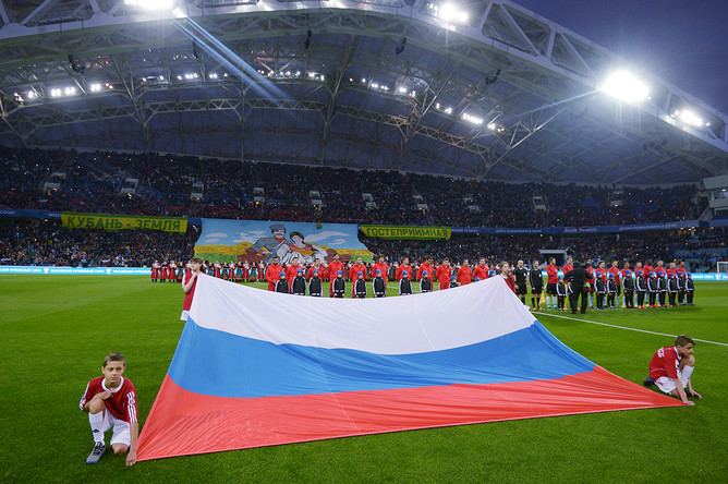 Перед началом товарищеского матча между сборными России и Бельгии