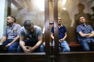 Анатолий Круглов, Алексей Трофимов, Валерий Башкатов и Юрий Гордов (слева направо) в зале суда