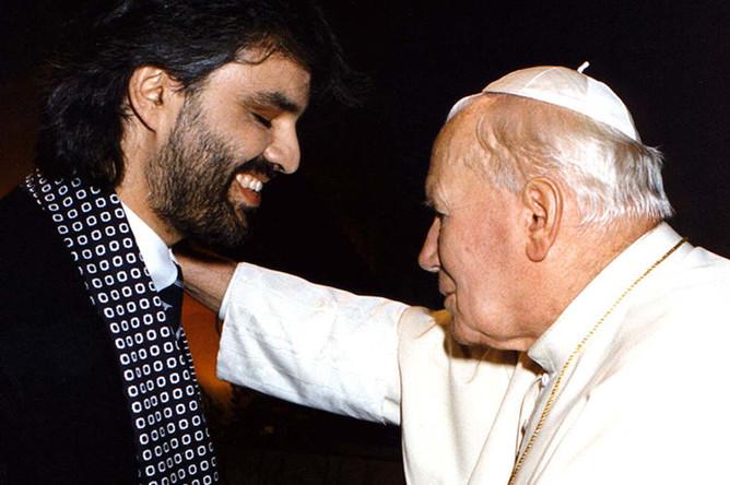 Андреа Бочелли и Папа Римский Иоанн Павел II, 1997 год