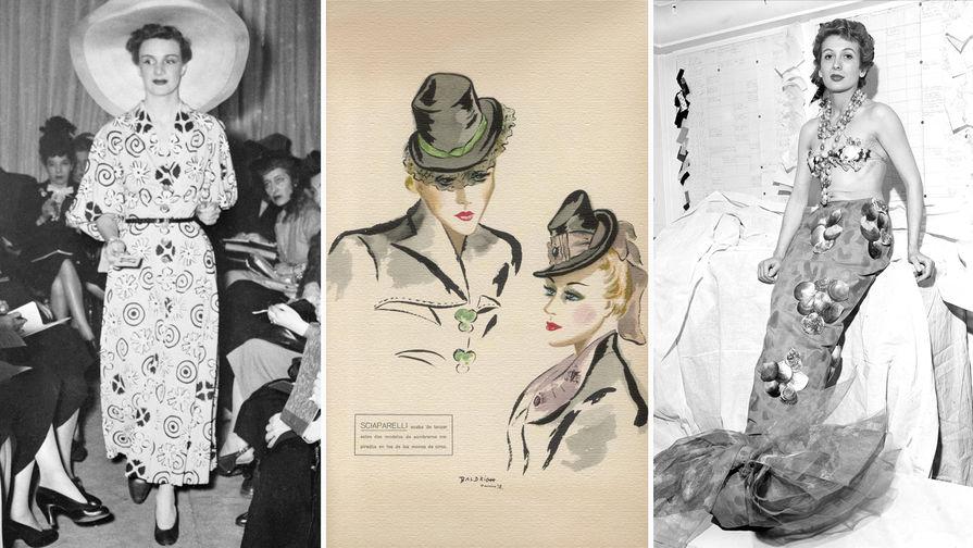 Модель в платье для дневного выхода во время презентации весенней коллекции Эльзы Скиапарелли в Париже, 1948 год<br><br>Наброски шляп работы модельера Эльзы Скиапарелли, 1938 год<br><br>Актриса Габи Сильвия в костюме русалки работы Эльзы Скиапарелли в модном доме модельера в Париже, 1952 год