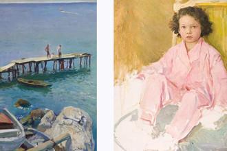 Слева: «Гурзуф.Лодочный причал» (1964). Справа: «Портрет дочери в розовом» (1959)