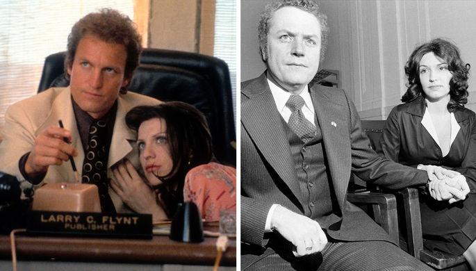 Кадр из фильма «Народ против Ларри Флинта» и Ларри Флинт с женой Алтеей, 1977 год (коллаж)