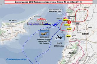 Скриншот с брифинга Минобороны России после исчезновения Ил-20 над Средиземным морем у берегов Сирии, 18 сентября 2018 года