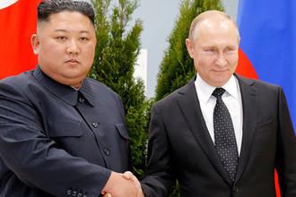 Президент России Владимир Путин и глава КНДР Ким Чен Ын во время встречи на острове Русский, 25 апреля 2019 год