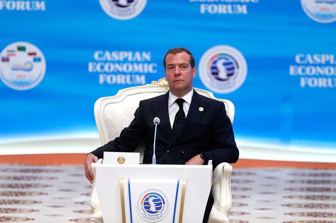 Председатель правительства РФ Дмитрий Медведев на торжественном заседании международной конференции «Каспийское море: выгоды развития международного экономического сотрудничества» в рамках Первого Каспийского экономического форума, 12 августа 2019 года