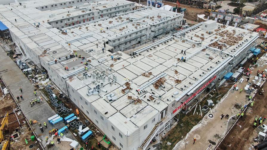 Вид с воздуха на новый госпиталь в Ухане, 2 февраля 2020 года