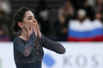 Евгения Медведева на чемпионате мира в Хельсинки