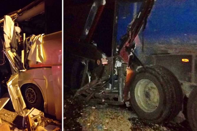 Последствия ДТП с участием пассажирского автобуса в Краснодарском крае, 26 сентября 2017 года, коллаж