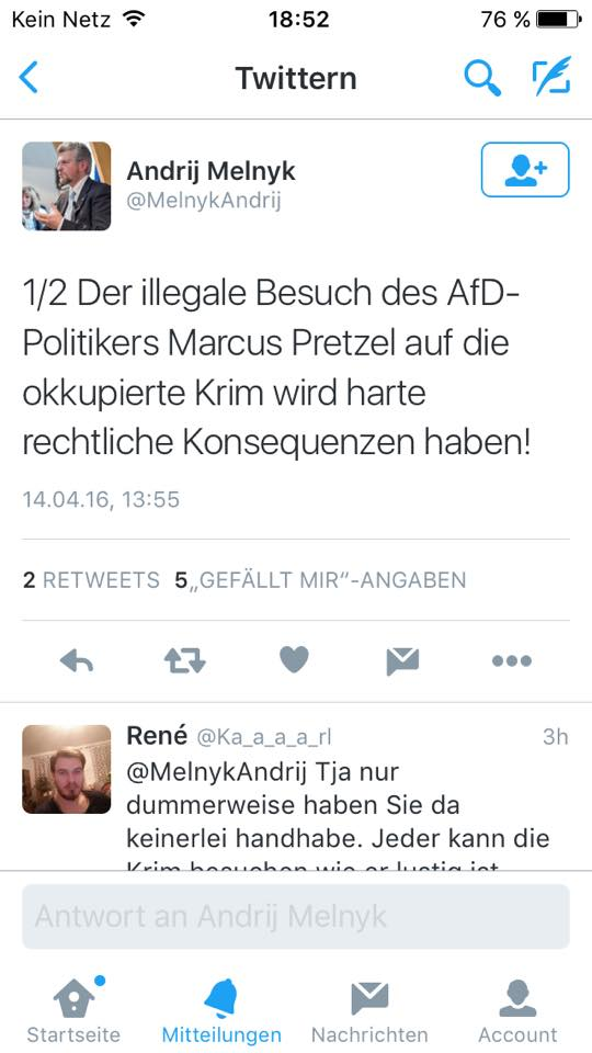 Украинский посол в Германии Андрей Мельник в Twitter: «Незаконный визит политика AfD Маркуса Претцелля в оккупированный Крым будет иметь серьезные правовые последствия!»