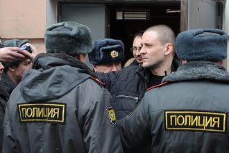 Координатор движения «Левый фронт» Сергей Удальцов после заседания мирового суда Пресненского района Москвы, март 2012 года