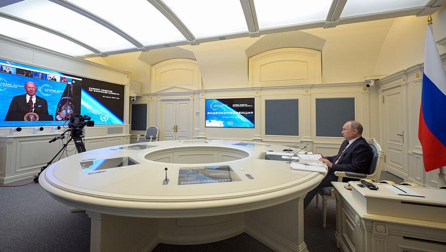 Президент России Владимир Путин во время участия в Саммите лидеров по вопросам климата в формате видеоконференции, 22 апреля 2021 года