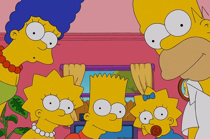 Семья Симпсон смотрит на зрителя мультфильма