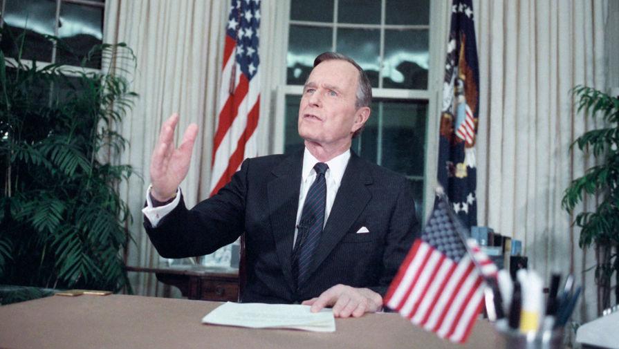 Президент США Джордж Буш-старший обращается к нации из Овального кабинета 16 января 1991 года, после того как американские войска начали военные действия в Ираке