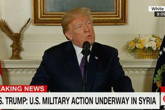 Президент США Дональд Трамп в Белом доме во время заявления о нанесении ударов по целям в Сирии, 14 апреля 2018 года