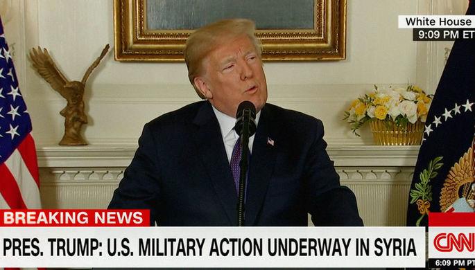 Президент США Дональд Трамп в Белом доме во время заявления о нанесении ударов по целям в Сирии, 14...