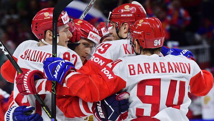 Хоккеисты сборной России Александр Барабанов,Илья Каблуков, Никита Зайцев и Максим Шалунов