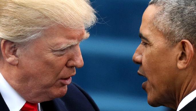 Бывший и действующий президенты США Барак Обама и Дональд Трамп после инаугурации в Вашингтоне, 20 января 2017 года