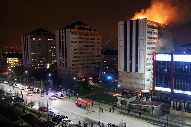Пожар в жилом доме в Грозном, 26 марта 2018 года
