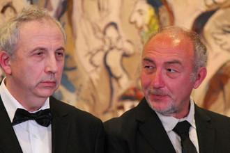 Владимир Дринфельд и Александр Бейлинсон на церемонии вручения Премии Вольфа по математике в Кнессете. Иерусалим, 31 мая 2018 года