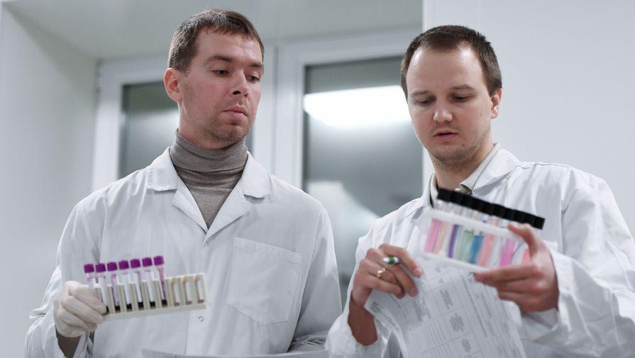 Пробирки с пробами в Национальной антидопинговой лаборатории, открытой в Московском государственном университете имени Ломоносова, в Москве.