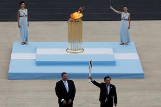 Церемония передачи огня зимних Олимпийских игр 2018 года в Пхенчхане на стадионе «Панатинаикос» в Афинах, 31 октября 2017 года