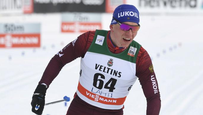 Российский лыжник Александр Большунов на этапе Кубка мира в Лахти — сразу после Олимпиады-2018