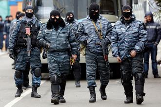 Сотрудники украинского спецподразделения «Беркут» в Киеве